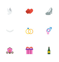 Flat icons pigeon present chariot and other vector
