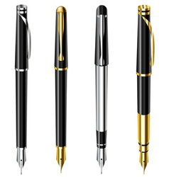 Fountain pen set vector image vector image