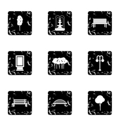 Garden icons set grunge style vector image vector image