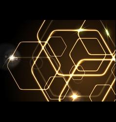 glowing orange neon hexagons background vector image vector image