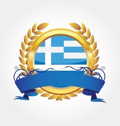 greece shiny button flag with golden frame vector image vector image
