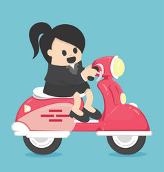 happy business woman with scooter vector image vector image