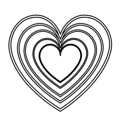heart love romantic feeling decoration line vector image vector image