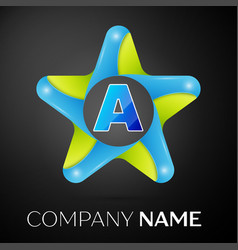 Letter a logo symbol in the colorful star on black vector