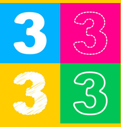 Number 3 sign design template element four styles vector