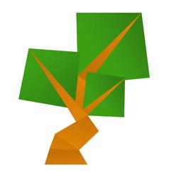 Origami tree icon cartoon style vector