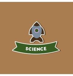 Paper sticker on stylish background rocket science vector