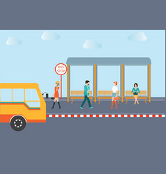people waiting for a bus vector image