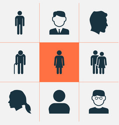 person icons set collection of work man male vector image vector image