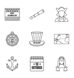 Pioneer icons set outline style vector