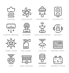 Set line icons of house systems vector