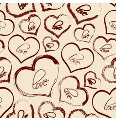 Set of red retro love heart grunge seamless vector