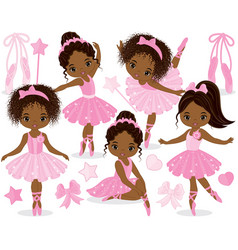 Set with little african american ballerinas vector