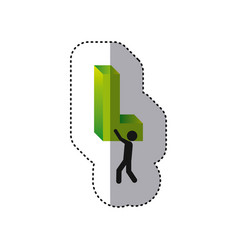 Sticker colorful worker holding word l in 3d vector