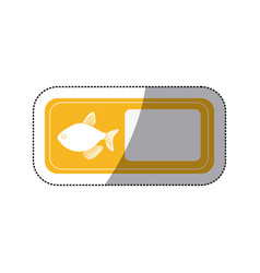 Sticker silhouette fish in rectangle banner vector
