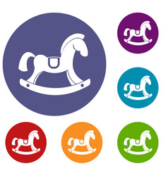 Toy horse icons set vector