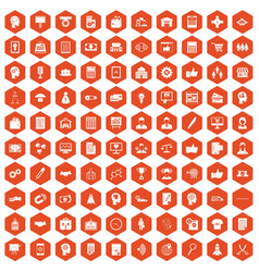 100 business strategy icons hexagon orange vector