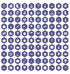 100 garden icons hexagon purple vector