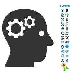 Intellect flat icon with bonus vector