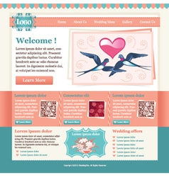 Wedding site template vector