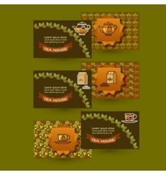 template tea House business cards with vector image