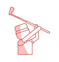 Red shading silhouette cartoon half body golfer vector