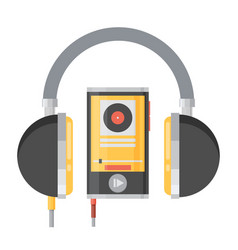 Flat headphones with player vector