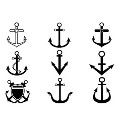 anchor icons set vector image