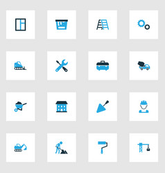 architecture colorful icons set collection of vector image