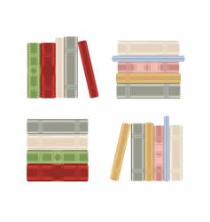 Set of books on shelf vector