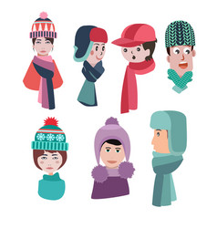 set of hats for winter season man and woman hats vector image