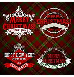 Merry christmas and happy new year emblems vector