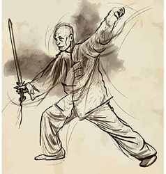 Taiji tai chi an hand drawn converted into vector