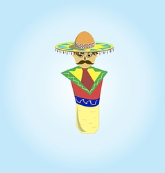 Mexican sombrero with a mustache in a plug for teq vector