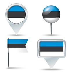 Map pins with flag of estonia vector