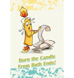 Burn the candle from both ends vector