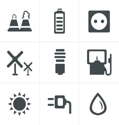 Black eco energy icons set on gray vector