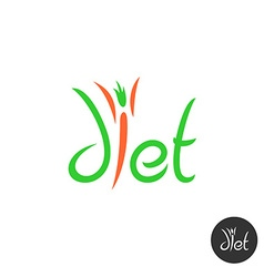Diet word elegant logo Thin human figure as a vector image