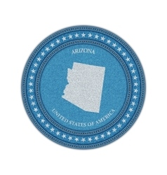 Label with map of arizona denim style vector