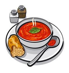Hot tomato soup vector