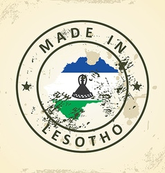 Stamp with map flag of lesotho vector