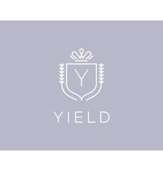 Elegant monogram letter y logotype premium crest vector