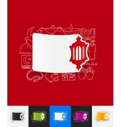 Lantern paper sticker with hand drawn elements vector