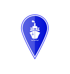 Blue map pointer with ship boat vector