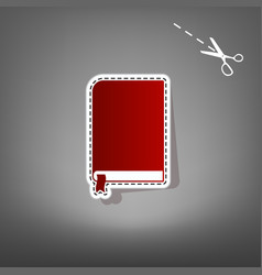 Book sign red icon with for applique from vector