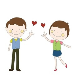 boy and girl sent red heart hand drawn vector image vector image