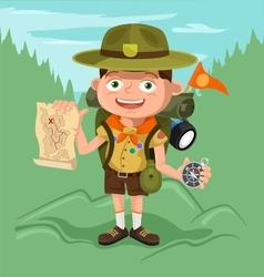 Boyscout with map vector