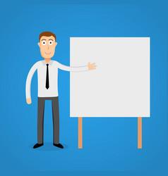 Business man presentation on white board vector