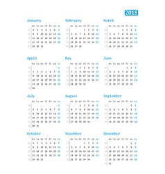 Calendar for 2018 year on white background design vector image vector image