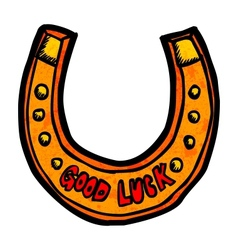 Close-up view of horseshoe Doodle style vector image vector image